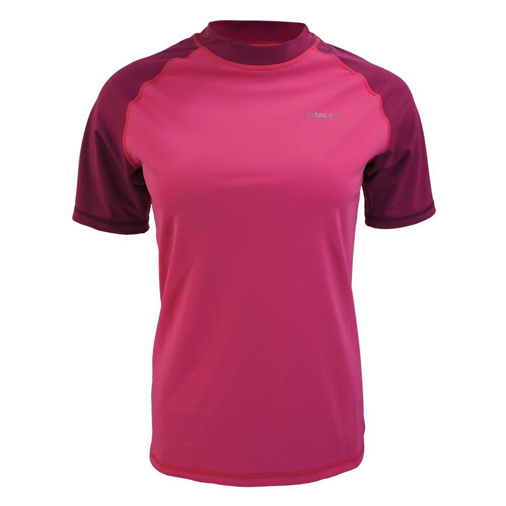 Berry shocking pink H.MILES Womens Rash Guard Short Sleeve UV Rashguard Swimsuit Shirt Surfing Swimming Top