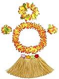 30cm grass skirt with flowers bracelets headband necklace Hula set