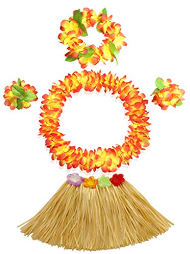 30cm grass skirt with flowers bracelets headband necklace Hula set