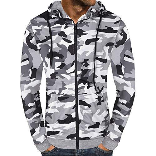 Hoodies for Men,Wobuoke Men's Autumn Camouflage Zipper Pockets Hooded Sweatshirt Outwear Tops Blouse