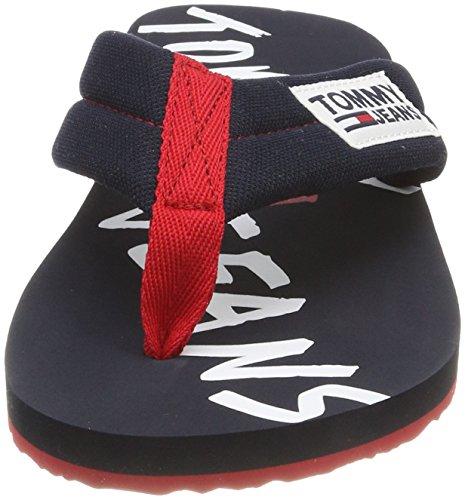 Menns Tj Flip Sandal midnatt Trykk 403 Flops Grafisk Tommy Jeans Blå Strand 14aZAO