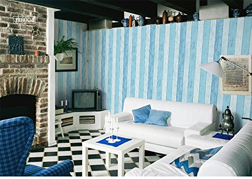 Vertical Stripes Nonwovens Wallpaper Living Room Bedroom Sofa TV Wallpaper 0.53m (1.73') x 10m(32.8')=5.3m²(57 sq.ft),Blue (Leaf Vine Stripe Wallpaper)