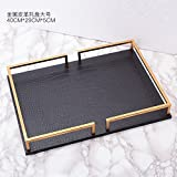 Gold jewelry tray,Leather tray ornaments Decorative jewelry trays Europeanstyleclassicalfurnishingsdecoration Metal cosmeticsjewelryorganizer-B 40x29x5cm(16x11x2)