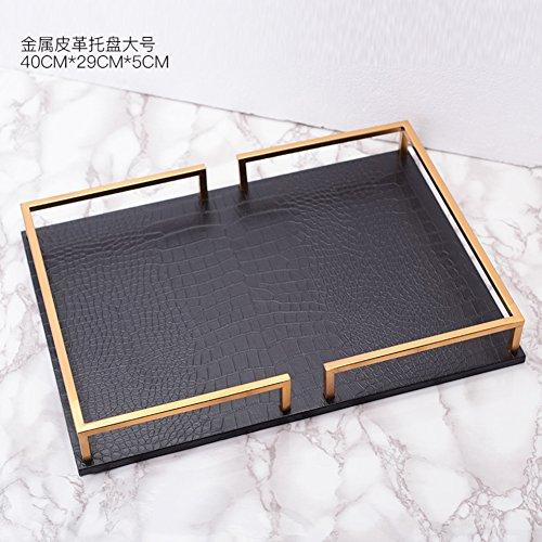 Gold jewelry tray,Leather tray ornaments Decorative jewelry trays Europeanstyleclassicalfurnishingsdecoration Metal cosmeticsjewelryorganizer-B 40x29x5cm(16x11x2) by AMYSDREAMSTORE