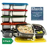 Meal Prep Containers | 3 Compartment Lunch Containers | Portion Control | (SET OF 6) Bento Lunch Boxes for Kids & Adults | Divided Food Storage,Stackable, Reusable, Microwavable, Bpa Free Plastic