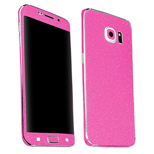 Just Mode(TM)Bright Color Glittering Style Full Body Bling Glitter Film Sticker Case Cover Protector for Samsung Galaxy S6 Edge-Bright Pink (Iphone6 Pink Bling Case)