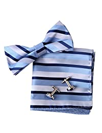 EBC1017 Perfect Design Blue Stripes Excellent Gifts For Guys Silk Pre-tied Bowtie Cufflink Hanky Set By Epoint