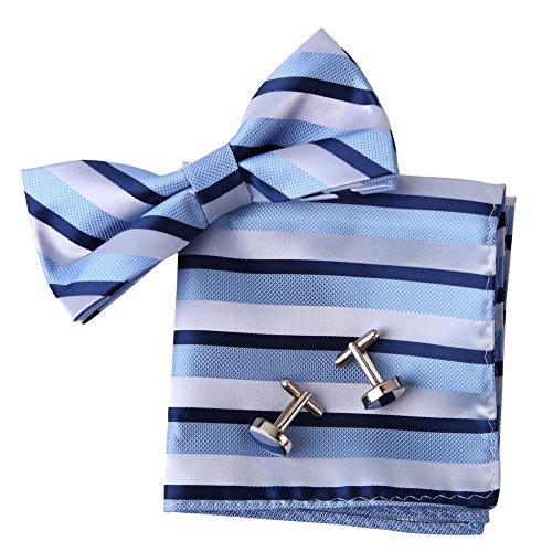 Epoint EBC1017 Blue Bowtie Stripes Gifts For Guys Silk Pre-tied Bowtie Cufflink Hanky Set