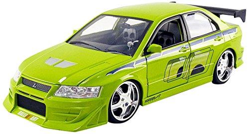 Jada Toys–Modellino Auto Mitsubishi Lancer Evo VII Brian Fast and Furious Scala 1/24, 99788Gr, Verde 99788GR