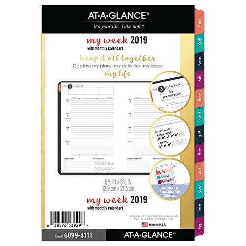 AT-A-GLANCE 2019 Weekly & Monthly Planner Refill, 5-1/2