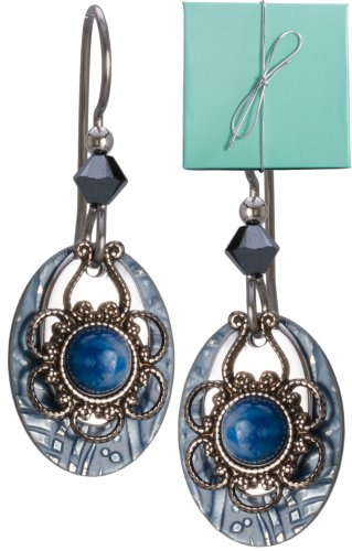 - Blue Silver-tone Filigree Hammered Tear Drop Lapis Earrings Flower Crystal Gold-tone Surgical Steel