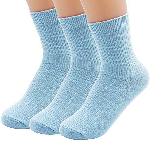 VIVIKI Women Socks, Super Soft Combed Cotton Socks, Plain Ankle Socks 3 Pack (Light blue) ()