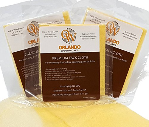Orlando Painting - (3Pack) Premium Tack Cloths for Removing Dust, Lint & Particles from Wood, Metal, Glass or Plastic before Applying Paint or Finish (3)