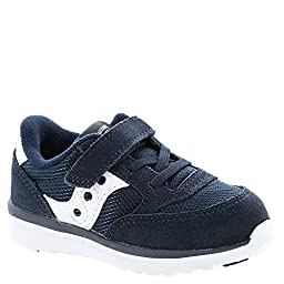 Saucony Infants/Toddlers Baby Jazz Lite Sneaker,Navy Suede/White Nylon,US 6 XW