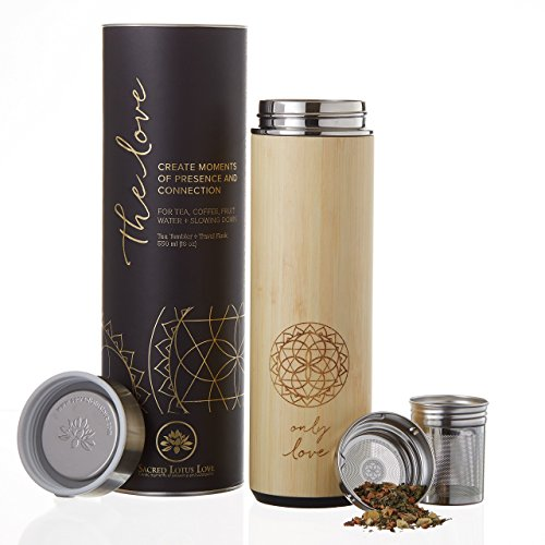 The NEW Love Bamboo 18oz Tumbler Thermos Mug for Loose Leaf Tea, Coffee, or Fruit Water with Stainless Steel Strainer and Infuser Basket. Vacuum Sealed. Beautifully Packaged, Poem + Gift - New Glass Iced Tea