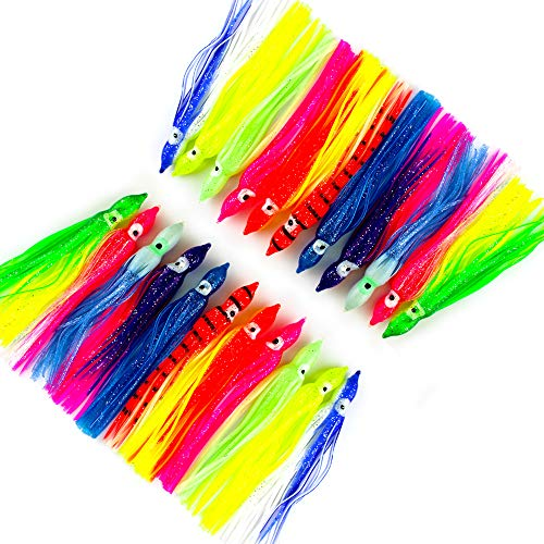 (Jumping fish 25pcs 9cm/3.54 inch Mixed Soft Squid Skirts Lures Octopus Trolling Hoochies Baits Set Trout Bass Saltwater Skirt)