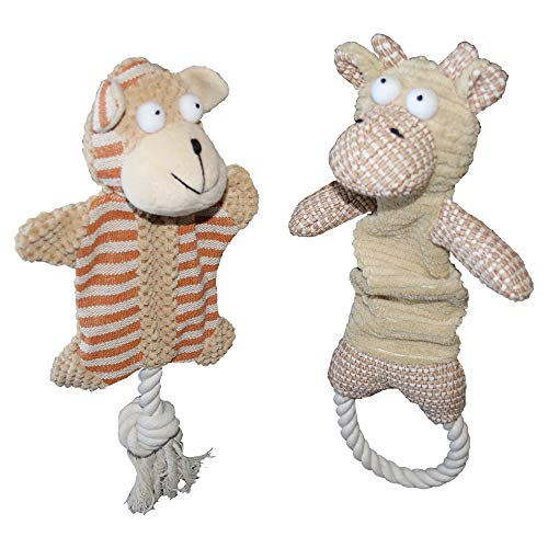 Pawz World Stuffless Dog Toy with Squeaker - 2 Pack No Stuffing Crinkle Dog Toys with Tug Rope Knots for Puppy and Small Dogs