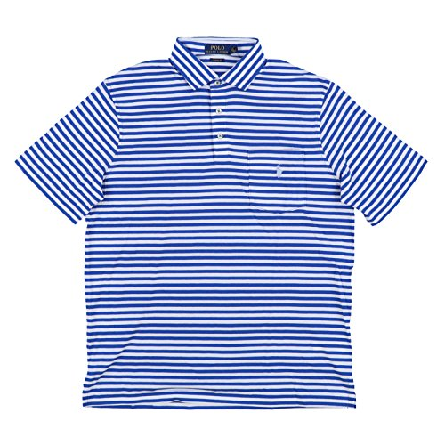 Polo Ralph Lauren Mens Interlock Pocket Polo Shirt (Small, Blue White Stripes)