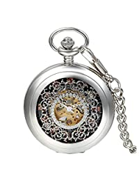 """Avaner Retro Hollow Floral Engraved Roman Numerals Hand Wind Mechanical Pocket Watch with 15"""" Chain"""