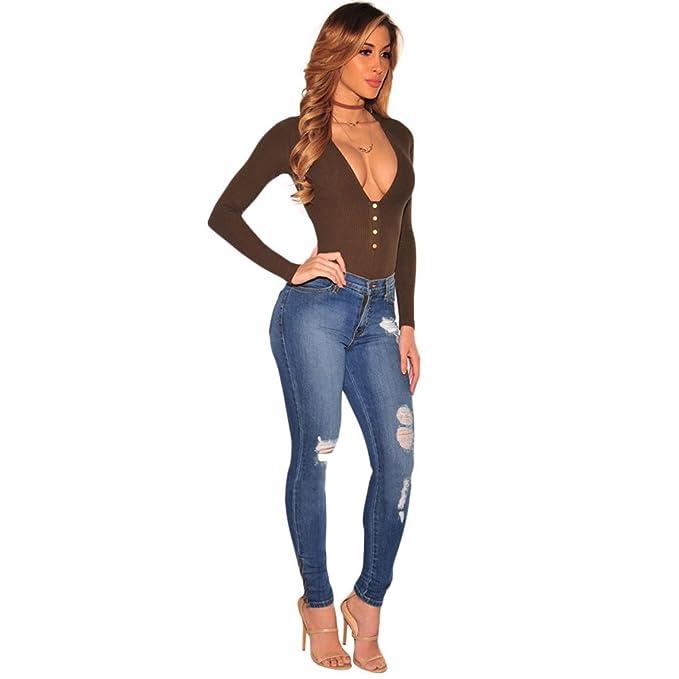 Sentao Mujer Casual Rotos Skinny Pantalones Vaqueros ...