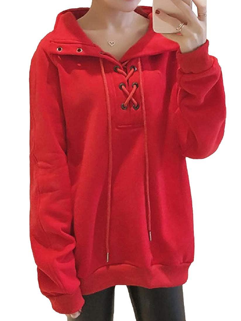 Fseason-Women Plus Size Lace Up Detail Mock Neck Jersey Pullover