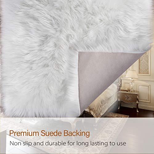 2x3 Feet Black LOCHAS Ultra Soft Fluffy Rugs Faux Fur Sheepskin Area Rug for Bedroom Bedside Living Room Carpet Nursery Washable Floor Mat