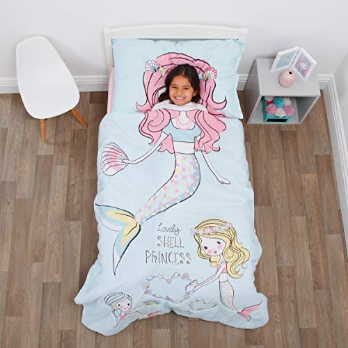 Everything Kids Mermaid 4 Piece Toddler Bed Set - Comforter, Fitted Bottom Sheet, Flat Top Sheet, Standard Size Pillowcase, Aqua, Pink, -