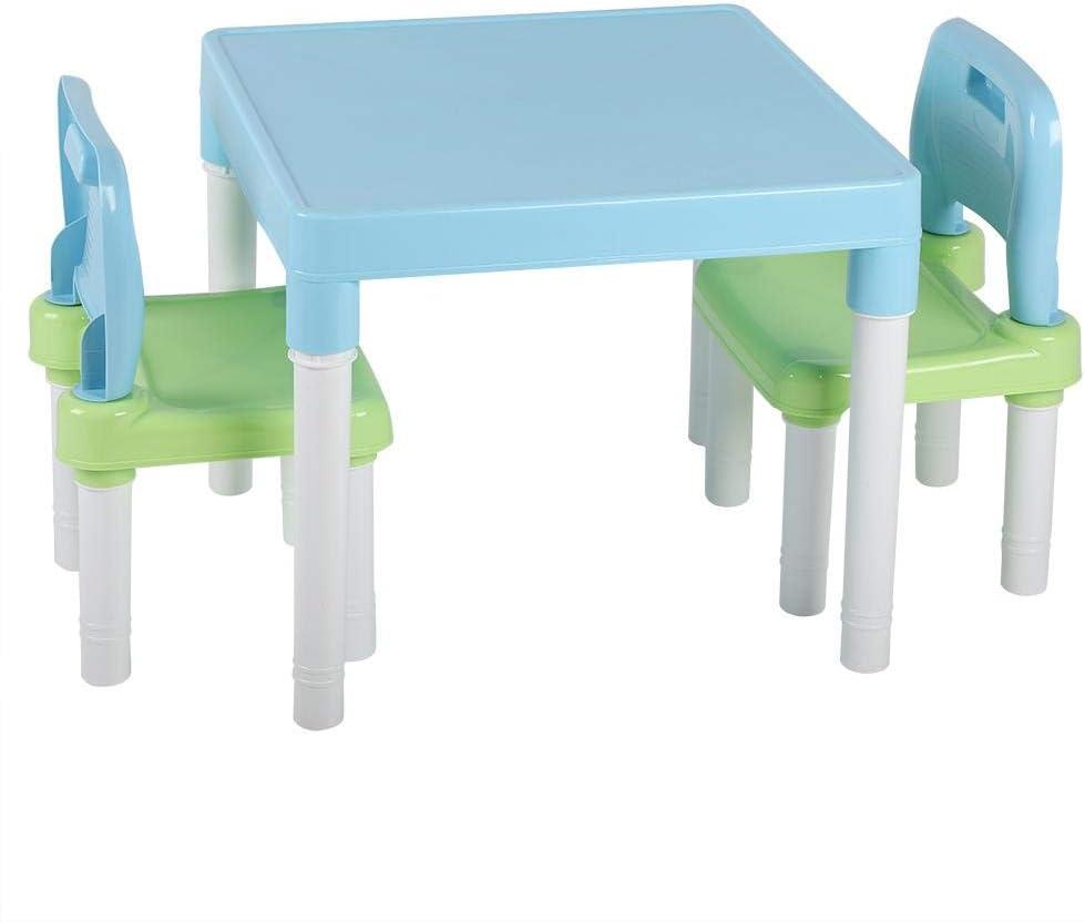 GOTOTOP Gotop per Ragazzi o Ragazze Blue Green Set Tavolo e Sedia per Bambini Tavolo da Pittura e 2 sedie da Studio