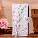 EVTECH(TM) Bling Crystal Crown Rhinestone Flower Pearl Diamond Design Sparkle Glitter Leather Wallet Type Magnet Flip Case Cover for Samsung Galaxy S4 S IV i9500 9505 M919(not fit S4 active version)