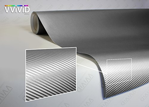 VViViD XPO Sterling Silver 3D Carbon Fiber Vinyl Wrap Roll with Air Release Technology (6ft x 5ft)
