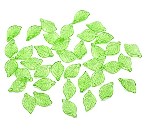 Rockin Beads 450 Green Leaf Acrylic Beads Bead 18x11mm Approx 3/4 Inch