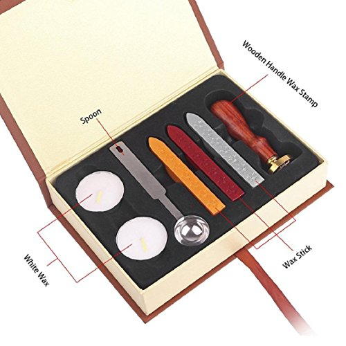 Hot Sale! Sunfei Wax Set,Vintga Classic Wax Seal Stamp Kit Sunsbell Stamp Seal Sealing Wax Set - School Badge (Peel Seals Wax)