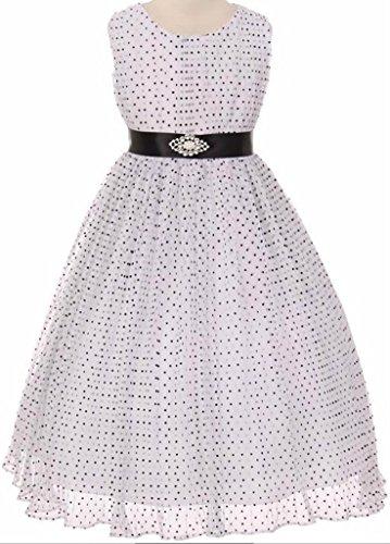 Flower Girl Crinkle Mesh Flocked Polka Dot Dress for Big Girl White Black 6 63.77