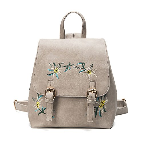 High Unique Women's Fashion Backpack Amazing Quality Girls personality Backpack Leather School Embroidery Bag Backpack Travel Teenage gray Flowers Gray Unisex Tuduz 15P8IXnx