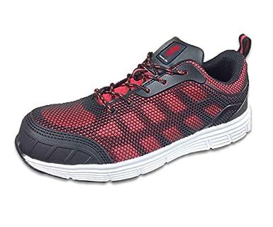 Warrior Workwear 0118MMS48/3 Zapatillas de entrenamiento de seguridad de malla de poliuretano de peso ligero, talla 3, negro/rojo: Amazon.es: Industria, ...