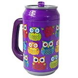 Cool Gear Can with Handle, 33 oz, Life's A Hoot Purple