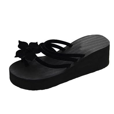 b8230fd9a4ee zycShang High Heeled Flip Flops Anti-Skid Women s Summer Fashion Slippers  Flip-Flops Beach Wedge Shoes Thick Sole Heeled Sandles