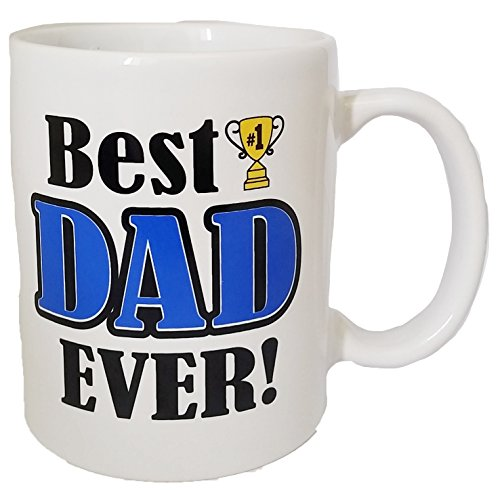 Best Dad Ever Novelty Designed Coffee Mug- Perfect for Fathers Day and Birthday Gift Featuring #1 Dad and a Trophy (Best Dad Mug)