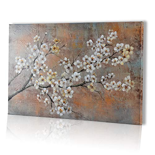 - Mozing Wall art Oil Paintings 100% Hand Painted Art Plum Blossom On Canvas Modern Scenery Artwork Decorative Pictures For Home Living Room Bedroom Office(15.7x23.6In)
