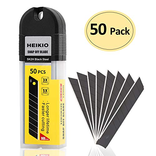 18mm Wide Black Snap-Off Blades 50-Pack, Quality Carbon Stainless Steel, Sharper, Replacement Blade for Most Box Cutter & Utility Knife