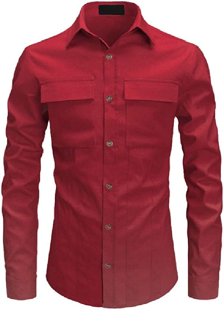Freely Mens with Pockets Solid Color Lapel Long Sleeve Western Shirt