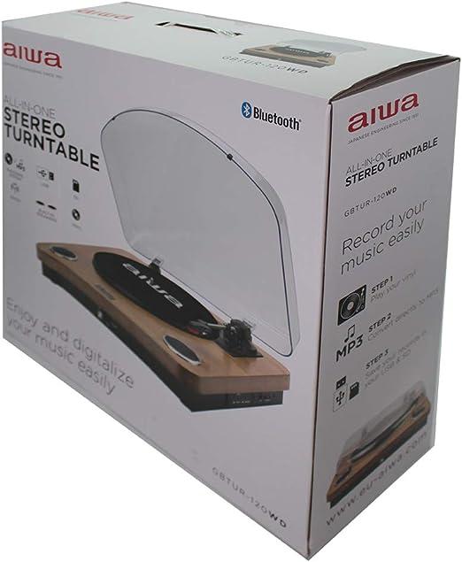 AIWA GBTUR-120WD - Tocadiscos de Madera, Bluetooth, 3 velocidades ...