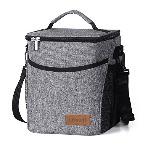Lifewit Insulated Lunch Box Lunch Bag for Men Women, Thermal Bento Bag, Leakproof Waterproof Cooler Bag for Office / School / Picnic, 9L, Grey (Bag Malo Womens)