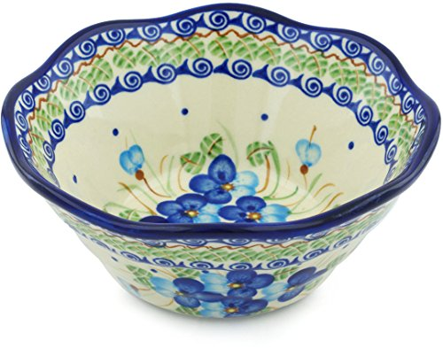 Polish Pottery Fluted Bowl 7-inch Blue Pansy