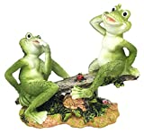 Summer Fun Cottage Garden Frogs Playing On Seesaw With Ladybug Figurine Decor