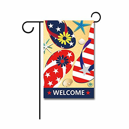 (KafePross Welcome Summer Flipflop Garden Flag Seasonal Banner Outside 12.5