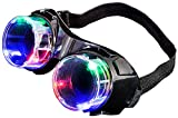 Light Up Mad Scientist Steampunk Black Aviator Goggles Costume Accessory