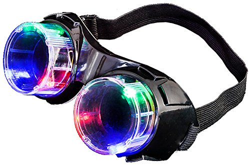 Mad Scientist Costumes - Light Up Mad Scientist Steampunk Black Aviator Goggles Costume Accessory