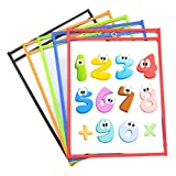 Eamay Dry Erase Ticket Holder Pockets 10 x 13, Both Sides Clear, Pack of 5, Reusable Plastic Paper Sleeves for Home or School Learning Activities