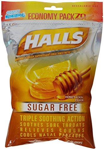 Halls Menthol Cough Suppressant Drop-Honey-Lemon, Sugar Free-70 - Action Vapor Honey